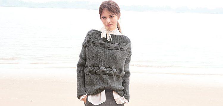 Pullover mit Zopfmuster für den Herbst kostenlose Anleitung